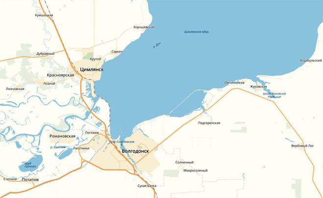 Город Волгодонск на карте