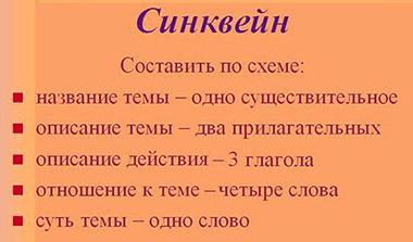 синквейн, схема