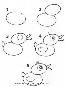 Как нарисовать утку в озере